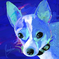Dog Paintings - Chihuahua Blue